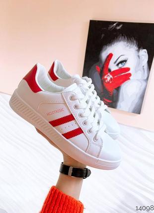 Кеды эко-кожа  цвет white+red