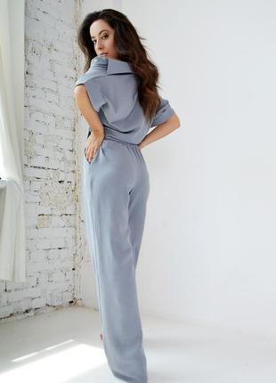 Брючный костюм женский штаны и рубашка с коротким рукавом креп2 фото