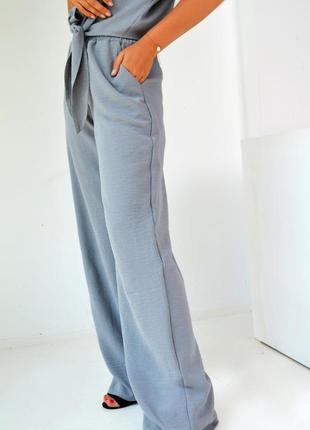 Брючный костюм женский штаны и рубашка с коротким рукавом креп3 фото