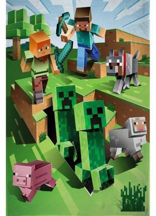 Флисовый плед майнкрафт - оригинал minecraft - подарок для фаната игры