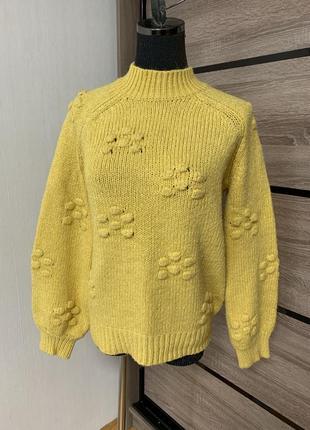 Красивый вязаный свитер с крупной вязкой💛🧡💛