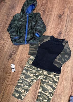 Набор - ветровка, штанишки и кофта цвета хаки