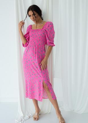 Платье миди с разрезом квадратным вырезом рукава фонарики резинка на груди