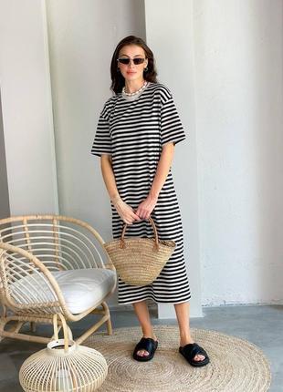 Платье тельняшка в полоску с коротким рукавом