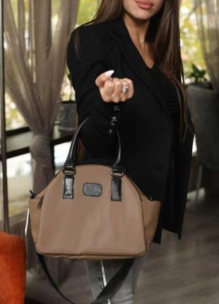 Тканевая водоотталкивающая женская сумка aliri-t50-02 кофейного цвета