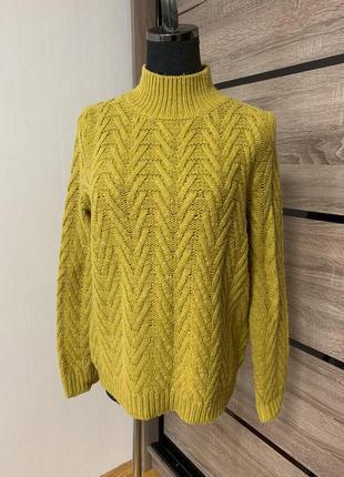 Красивый шерстяной свитер с крупной вязкой 🧡💛🧡