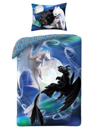 """Детское постельное белье евро комплект """"как приручить дракона"""" - беззубик и дневная фурия"""