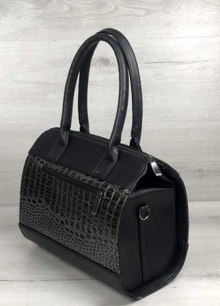 Женская классическая сумка бочонок  aliri-320-08 черная с вставкой под кожу крокодила