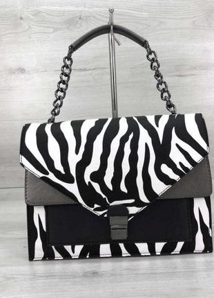 Стильная компактная женская сумка зебровый принт aliri-t54-03 зебра