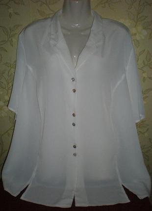 Нежная белая шифоновая блуза. большой размер 28 - наш 60-64