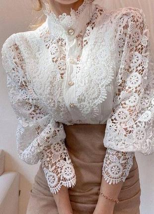 Блуза под гордо кружево топ качество белого цвета