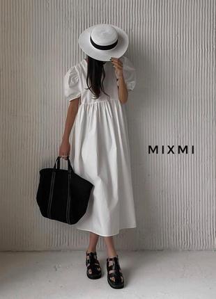 Платье миди с широким рукавом