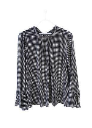 Стильная блуза рубашка в горошек с бантом сзади dorothy perkins / большой размер