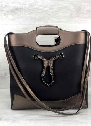 Классная женская сумка с косметичкой aliri-t51-04 черная с бронзой