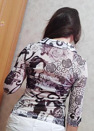 Шифоновая женская рубашка  блузка кофта на пуговицах