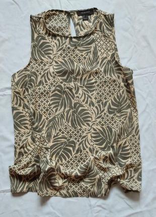 Блуза без рукавов в листья/ майка/топ
