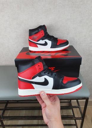 Женские n1ke air jordan 1 retro mid black red white