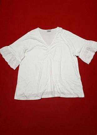 Белая футболка с широким рукавом из прошвы трикотажная блузка большого размера