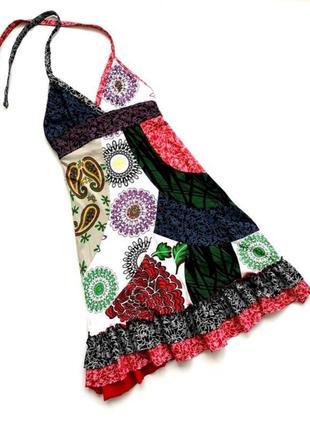 Шикарный красивый сарафан платье с открытой спиной с вышивкой и принтом бохо