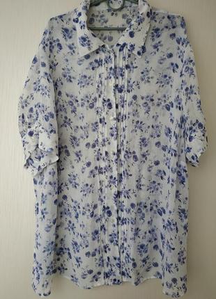 Жатая тонкая блуза из вискозы 52,56 в цветочный принт