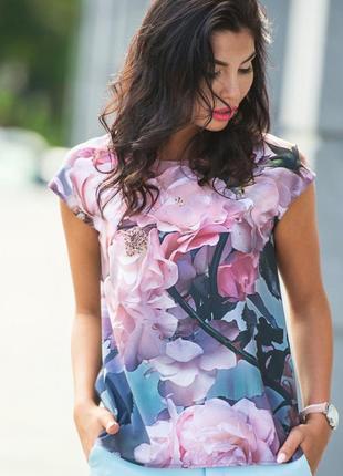Разные цвета! легкая летняя блуза блузка футболка из софта с коротким рукавом в цветочный принт
