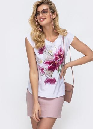 Шикарная легкая блузка блуза футболка летняя из софта белая в деловом стиле с тюльпанными цветами