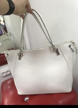 Кожаная белая сумка сумочка на плечо кроссбоди сумка с двумя ручками 🔥🔥🔥