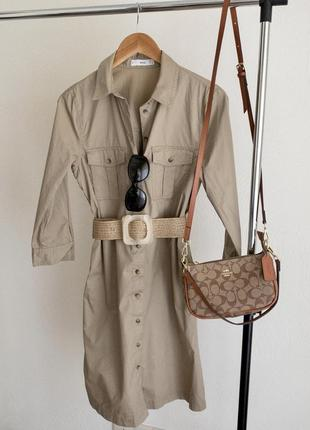 Платье рубашка с накладными карманами