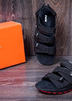 Мужские кожаные сандалии nike summer life black (наложенный платёж!)