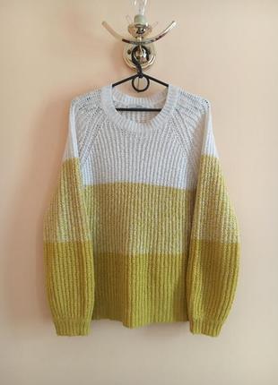 Батал большой размер тёплый мягкий свитер свитерок кофта реглан полосатый