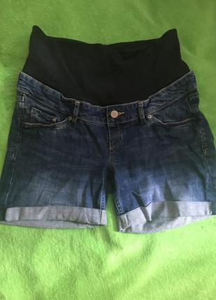 Шорты для беременных h&m однотонные тёмно-синие джинсовые хлопок