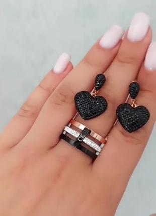 Набор из медсплава кольцо ск серьги черные сердечки