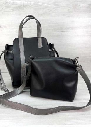 Молодежная сумка с косметичкой экокожа aliri-t52-24 черная