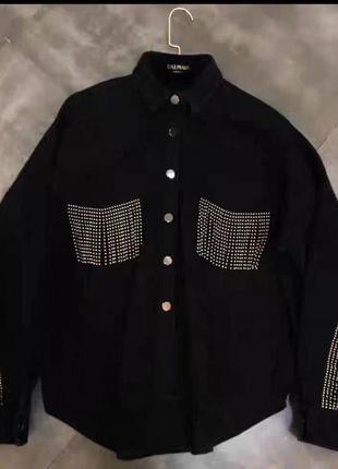 Джинсовая куртка черная котоновая курточка джинс