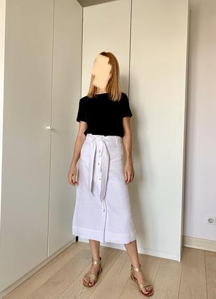 Белая льняная юбка-миди mango, на пуговицах