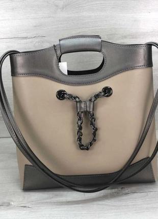 Молодежная женская сумка с косметичкой aliri-t51-09 бежевая с серым