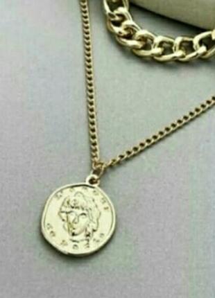 Цепь чокер ожерелье колье с монеткой золотистый серебристый