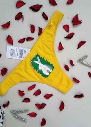 Хлопковые трусики стринги желтые с зайчиком трусы хлопок l