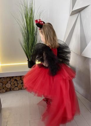 Платье красное микки минни маус со шлейфом фатиновое