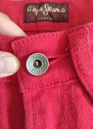 Красные джинсы скини с высокой посадкой pepe jeans 36 размер