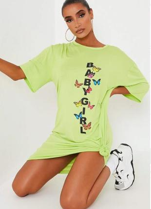 Isawitfirst. товар из англии. неоновое платье футболка с принтом бабочек.