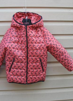 Супер курточка,пушинка.принт бантики.размеры 98,104,110,116,122,128