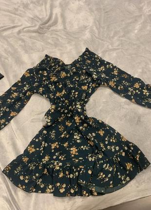 Платье в цветочек принт летнее платье с воланами