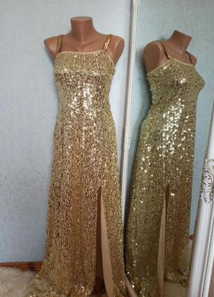 Платье вечернее пайетка золото новогоднее свадебное