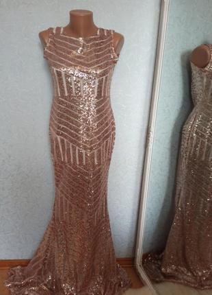 Сукня вечірня паєтка золота