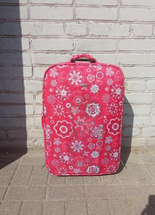 Малинова валіза з квітковим візерунком jamie