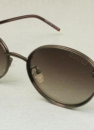 Gucci очки унисекс солнцезащитные модные коричневые с градиентом в металле