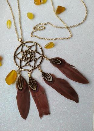 Летний кулон в стиле бохо с натуральными перьями. ловец снов индейцы аборигены американский стиль.