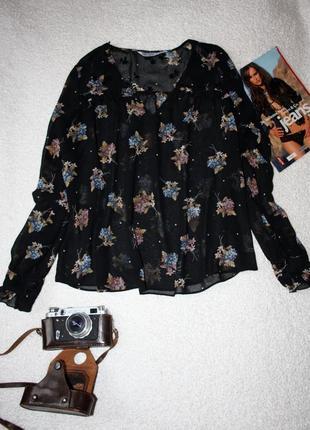 Шифоновая блуза zara . блуза в цветочный принт