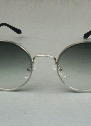 Gucci очки унисекс солнцезащитные модные круглые линзы серый градиент в серебристом металле2 фото